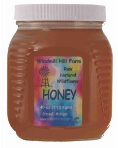 40 oz square glass jar of wildflower honey